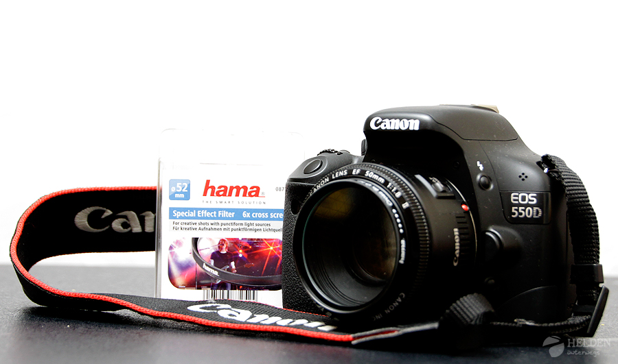 Canon 550D mit einem 50er Festbrennweitenobjektiv und dem hama Sternfilter