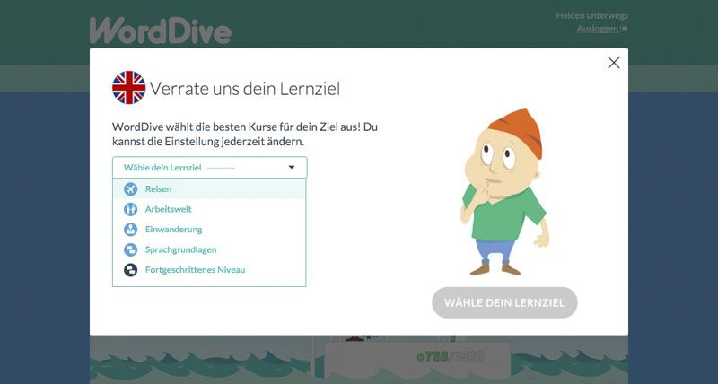 WordDive - persönliches Lernziel festlegen